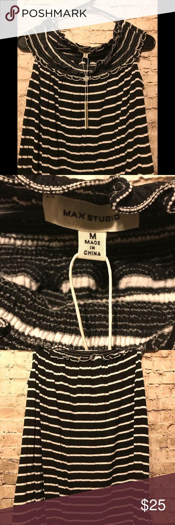 Max studio  black and white blouse size M Black and white short sleeve blouse size M Max Studio Tops Blouses