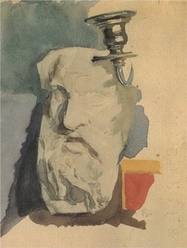 Still Life. Plaster mask, horn of chandelier. - Mikhail Vrubel