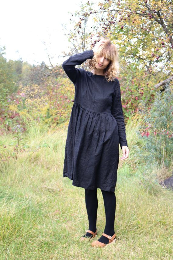 Black Linen Dress Long Sleeved Dress Loose Fit Dress by OffOn