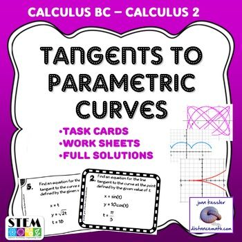 Calculus Tangents for Parametric Equations.    Students use the formulas for derivatives of parametric equations to find derivatives and them apply the derivative at a particular point to find the equation of tangent lines.