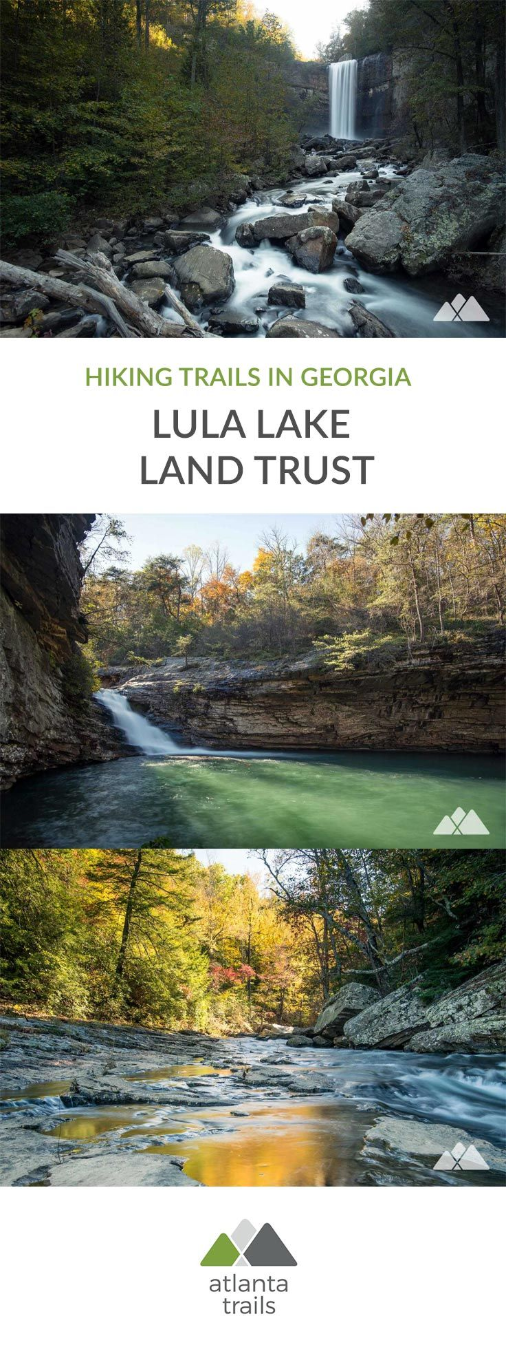Hike several scenic trails in Lula Lake Land Trust to two tumbling waterfalls, the 120-foot freefall at Lula Falls, and a spectacular 20-foot waterfall into an emerald-hued lake. #hiking #atlanta #georgia #travel #outdoors #adventure