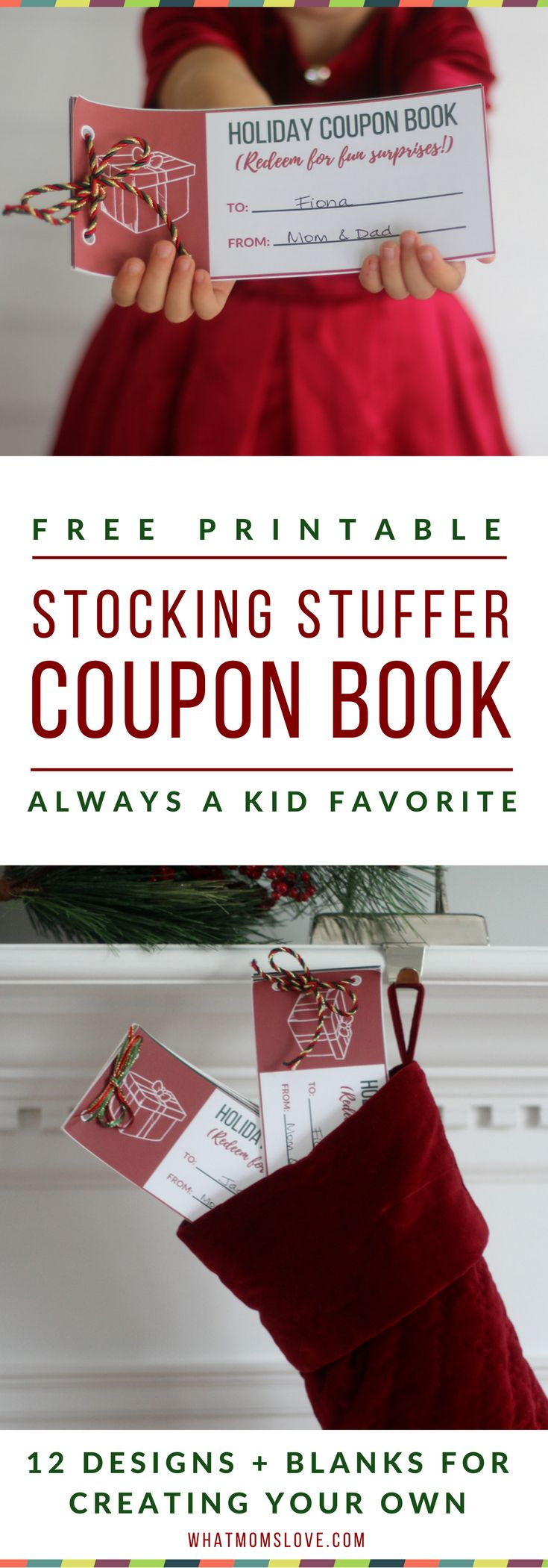 "Free Printable Coupon Books For Kids | What a fun gift for the Holidays or birthdays! 12 designs for memorable experiences like a ""one-on-one date with mom or dad"" or special treats like ""breakfast in bed"" and ""stay up 30 minutes past bedtime"". You get Christmas, Hanukkah and Birthday designs + blanks to write-in your own. Great DIY gift - simply download and print. Good idea for a Stocking Stuffer for children! Part of The Unrivaled Non-Toy Gift Guide from What Moms Love"