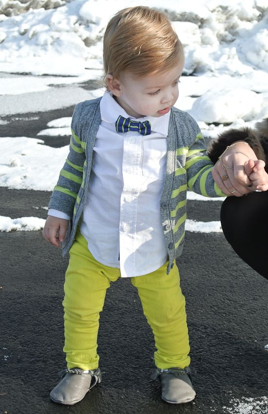 Grey/green striped cardigan, bowtie, and lime green skinnies