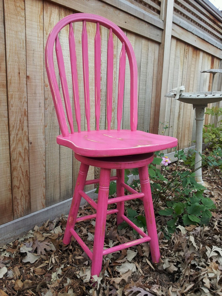"""OOAK Bright Pink Boho Distressed Shabby Chic Cottage Tall Raised 22"""" Height Swivel FUN Dressing, Kitchen or Childs Dining Chair. $50.00, via Etsy."""