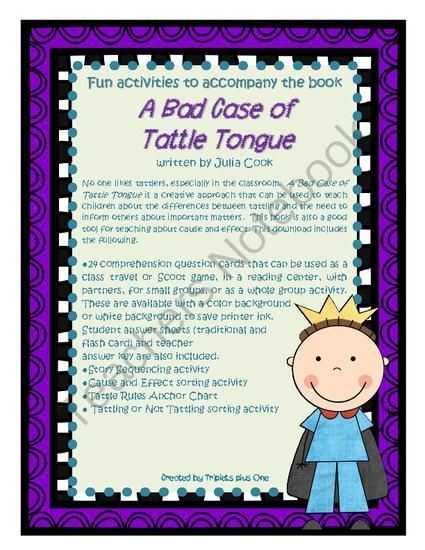 a bad case of tattle tongue activity pack from tripletsplusone on teachersnotebookcom