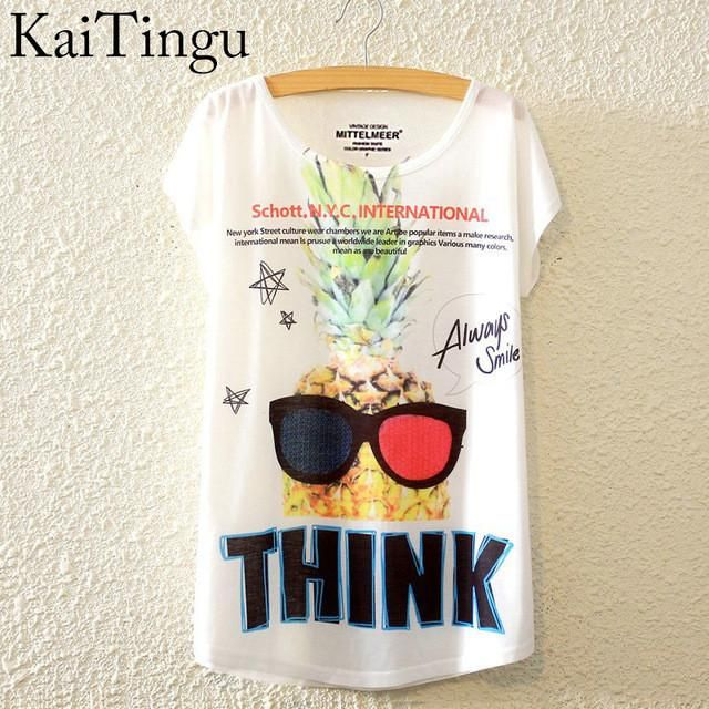 THINK Pineapple Graphic Print Short Sleeve T-Shirt
