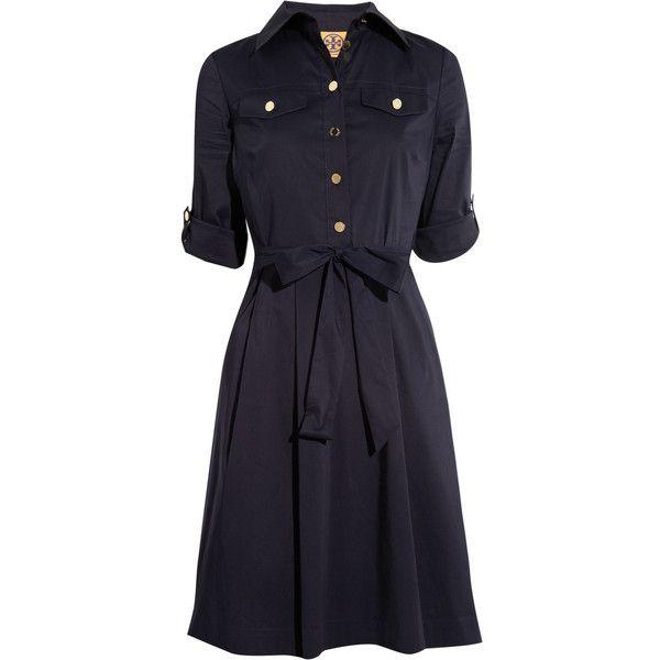 Tory Burch Blythe stretch cotton-blend shirt dress (225 AUD) ❤ liked on Polyvore featuring dresses, tory burch, short dresses, vestidos, navy, navy blue dress, blue dress, navy shirt dress and short blue dresses