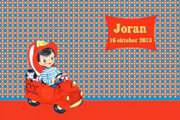 Geboortekaartje retro jongen - Pimpelpluis  https://www.facebook.com/pages/Pimpelpluis/188675421305550?ref=hl (# vintage - retro - kindje - ventje - stoer - branweer auto - hondje - kleurrijk - origineel)