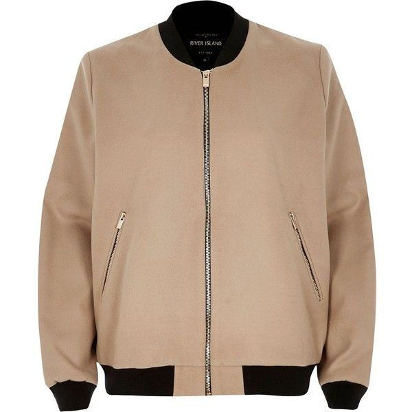 River Island Beige bomber jacket (7,405 INR) ❤ liked on Polyvore featuring outerwear, jackets, beige, bomber jackets, coats / jackets, women, blouson jacket, bomber style jacket, zip up jackets and beige jacket