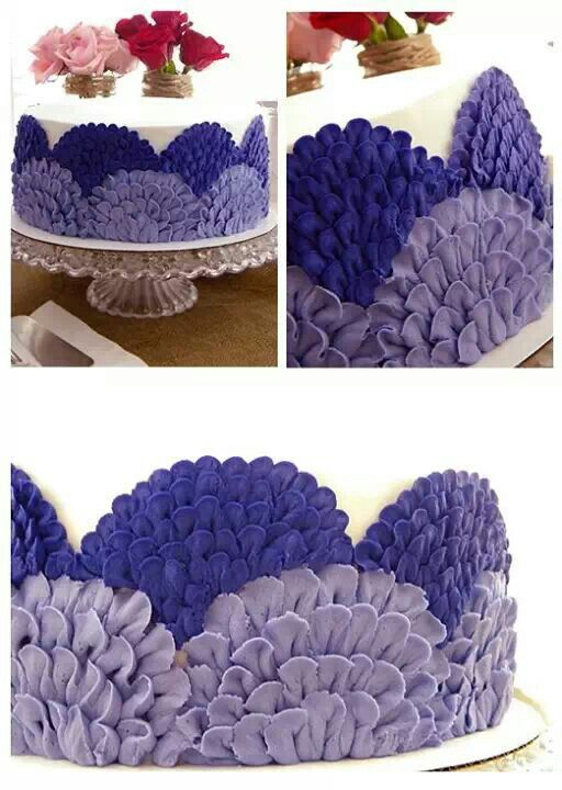 Buttercream Scallop Design using Purple & Lavender. Thinking about doing this with Purple and Teal