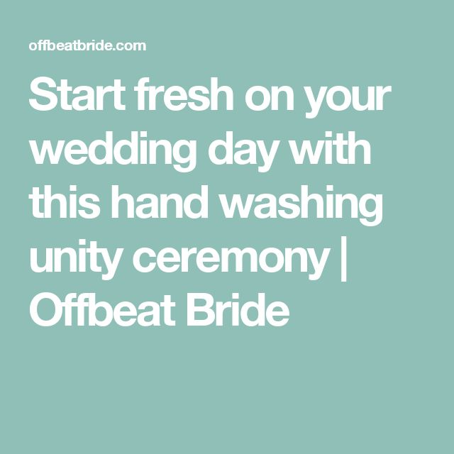 Start fresh on your wedding day with this hand washing unity ceremony | Offbeat Bride