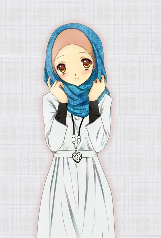 Anime muslim girl in blue