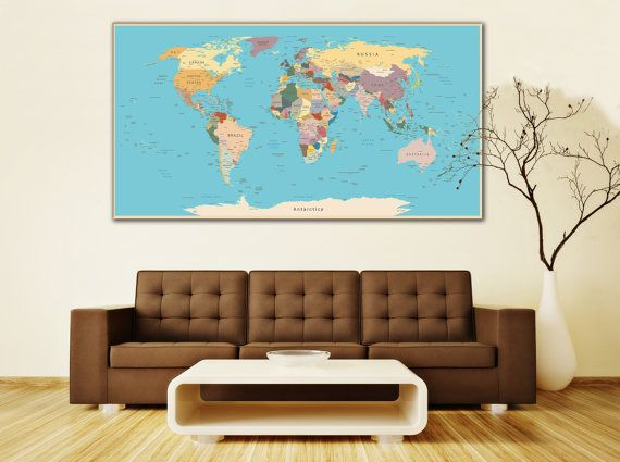 Large Wall Art World Map Canvas Print Living Room Panel Vintage Detailed