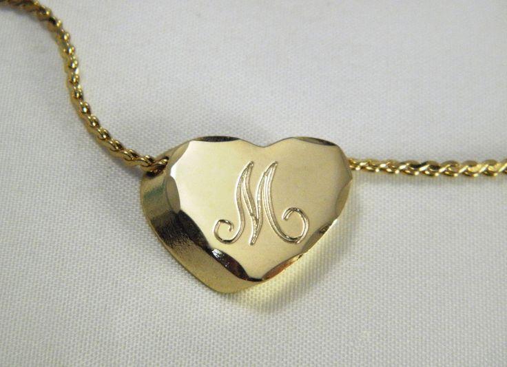 Initial M Necklace MOM Mary Madison Maria Monogram Slide Heart Charm Pendant VTG #SlideInitialPendantonChain
