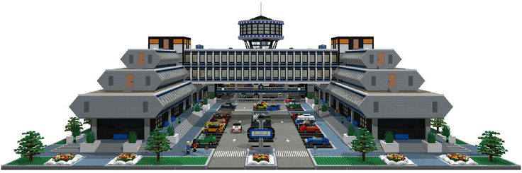 DigitalDreams42  -  LEGO Research Labs  -  62000-brick commercial complex featuring offices & laboratories, various function, service & utility areas, stairwells, elevators, gardens, and parking for 106 cars plus additional spaces for motorbikes and bicycles.  Links: Flickr Album • YouTube • MOCpages • Brickshelf