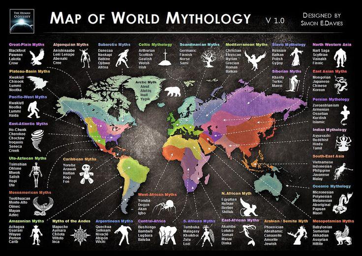 Map of World Mythology - WordZZ