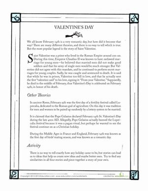 The history of Valentine's Day is full of theories about how the holiday began. Read about the history of Valentine's Day with this exercise and activity.