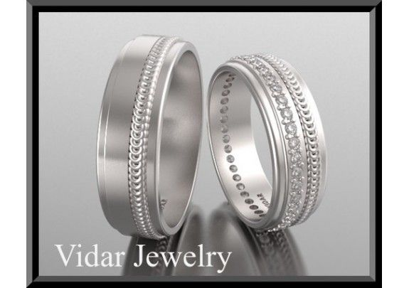 His And Hers Matching Diamond And 14kt White Gold Wedding Band Set - TheWeddingMile.com