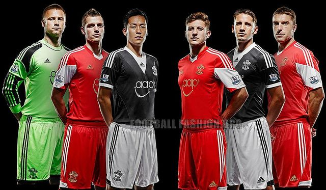 Southampton FC 2013/14 adidas Home and Away Kits. I dont like how Saints are solid red now not stripes. It's wrong!