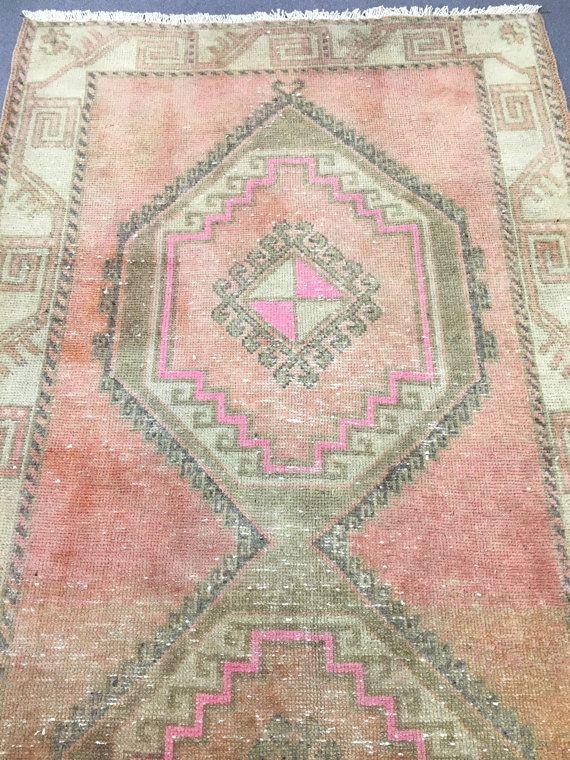 * Vintage grande Oushak tappeto Oushak turco grande corridore tappeto  * Colore: Disattivare rosa, rosa, Creme  * Dimensioni: 3.9x12.5ft (118x380cm)