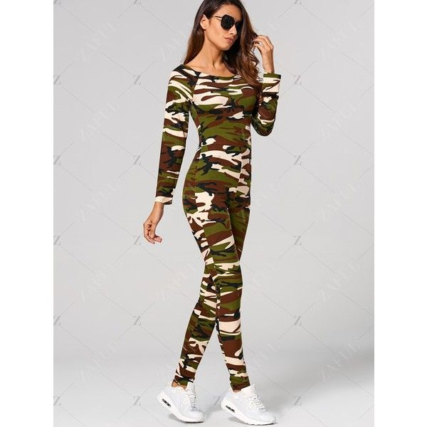 Camouflage Print Jumpsuit ($23) ❤ liked on Polyvore featuring jumpsuits, camouflage jumpsuit, jump suit and camo jumpsuit