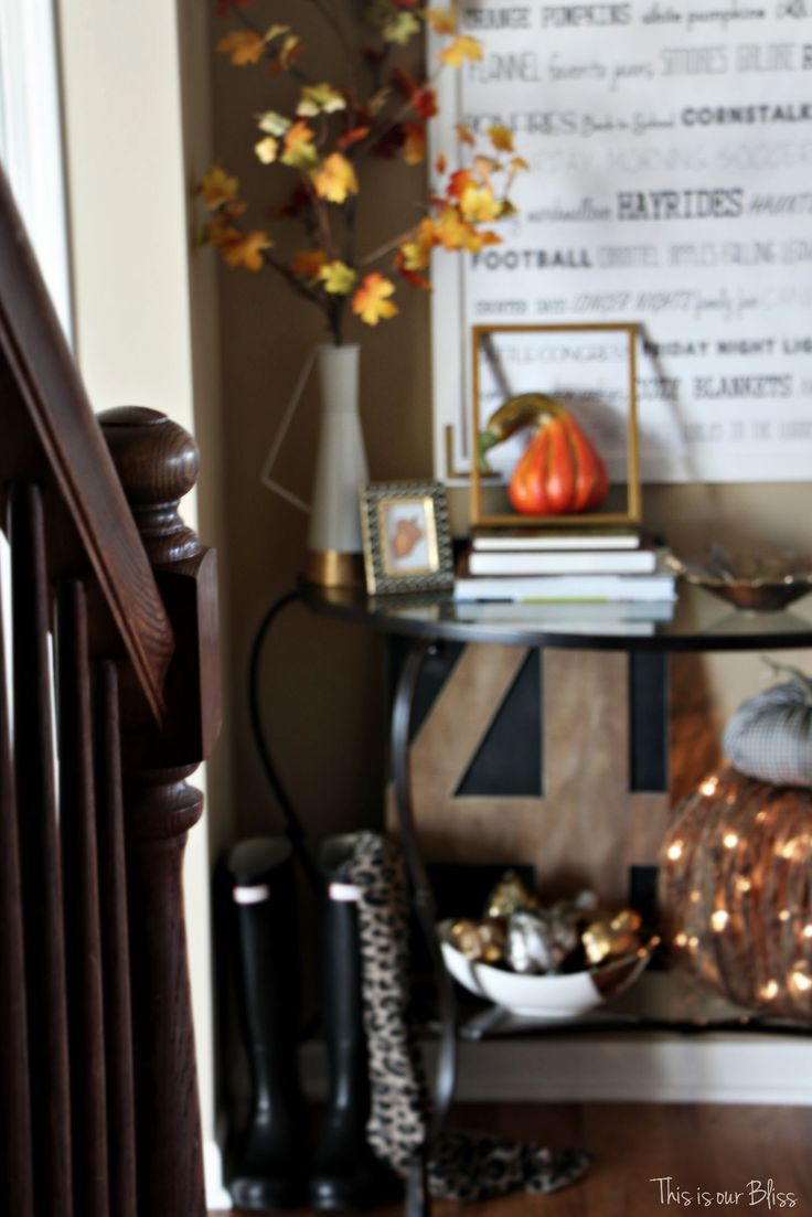 Fall entryway - fall vignette - entryway table styling - fall decor - neutral fall decor - view from the stairs - fall word art - This is our Bliss