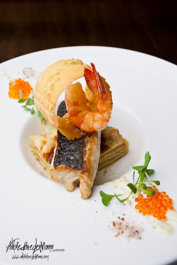 seabass and sweet potato lasagna, Photography by Albie Bredehann