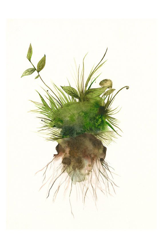 watercolor- Earth- Large moss, spring, green, Botanical Archival Art print of watercolor via Etsy
