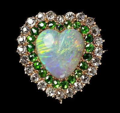 Brooch of opal, demantoid garnet and diamonds, c. 1875Bling, Opals Rings, Demantoid Garnet, Brooches, Heart, Antiques Jewelry, Diamonds, 1875, Albert Museums