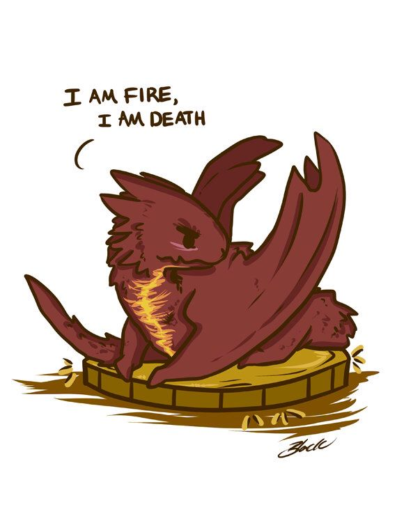 Chibi Smaug the Dragon I Am Fire, I Am Death The Hobbit 8.5x11 fanart print by BlacksSideShow on Etsy https://www.etsy.com/listing/217085793/chibi-smaug-the-dragon-i-am-fire-i-am