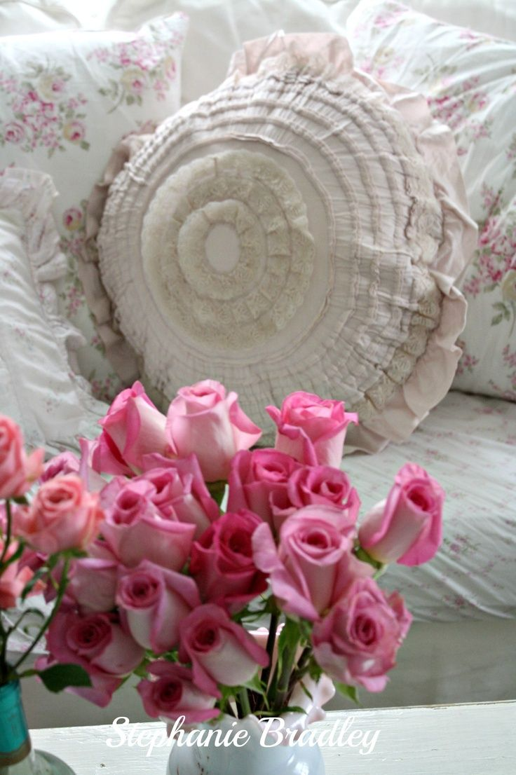 Shabby Chic Deer Pillow : stephanie bradley decorating Pink roses, shabby chic pillows on my couch. a few of my ...