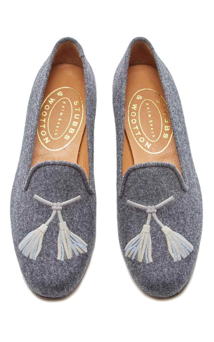 Grey Flannel Tassel Slipper by STUBBS & WOOTTON for Preorder on Moda Operandi