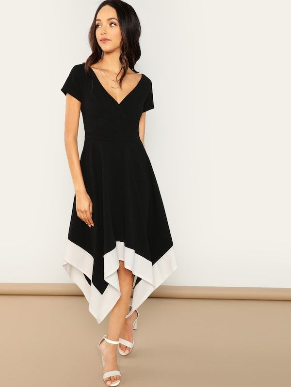 871bb4982 Surplice Neck Colorblock Hanky Hem Dress -SheIn(Sheinside) | Closet ...