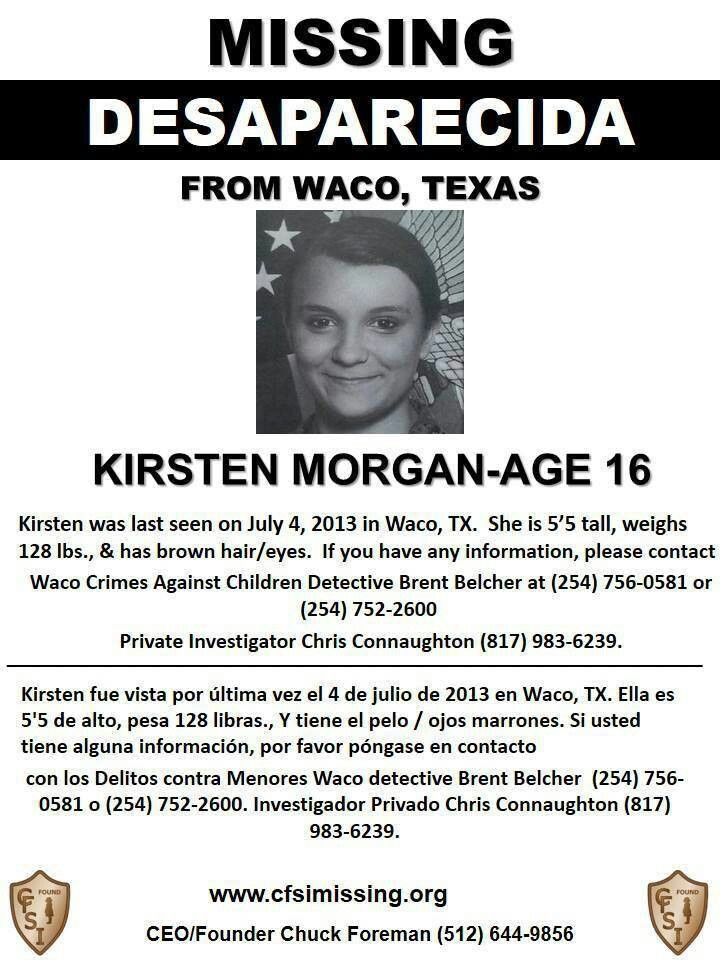 4 28 13 FOUND SAFE! ~TY Jackie~ (7 4 13 Kirsten Morgan, 16 - missing person flyer template