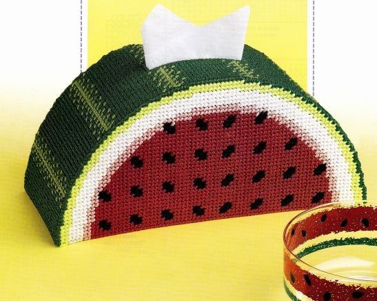 Watermelon Delight Tissue Topper In Plastic Canvas