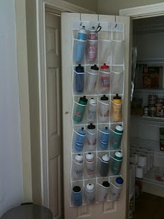 What a great organizing idea! It would free up the cupboards of all the water bottles.