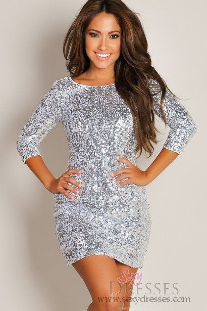 Shimmering Silver Glam Half-Sleeve Sequin Party Dress.
