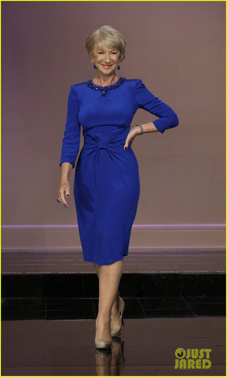 Dame Helen Mirren wore Jenny Packham for her July 11, 2013 appearance on the Tonight Show with Jay Leno.
