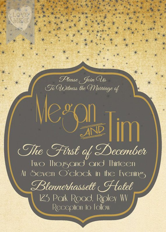 Personalized Grey and Gold Wedding Sparkle Invitation by love1meg1, $15.00