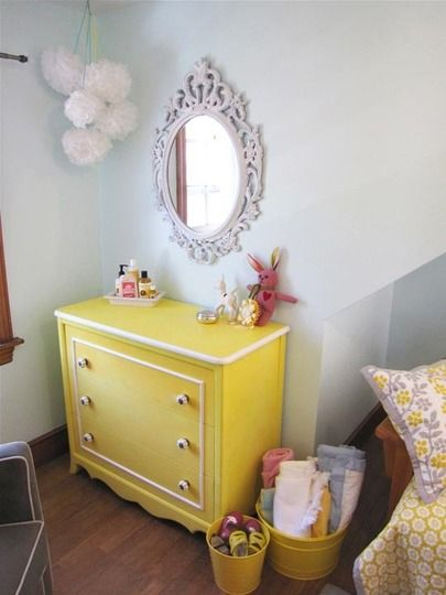 Painted ikea frame: Yellow Bedrooms Girls, Girls Nurseries Ideas Yellow, Yellow Dressers, Anthropology Bedrooms Ideas, Old Dressers, Drawers Pull, Yellow Bedrooms Furniture, Big Girls Rooms, Mirror Ideas For Girls