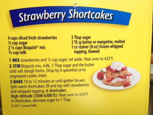 Bisquick Shortcake Recipe On Box | Susan Winget: Strawberry Shortcakes  (It's not on the box, anymore. That's why I had to look it up!)