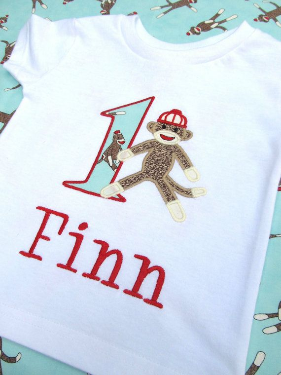 Personalized Sock Monkey Birthday Shirt- could become a tradition