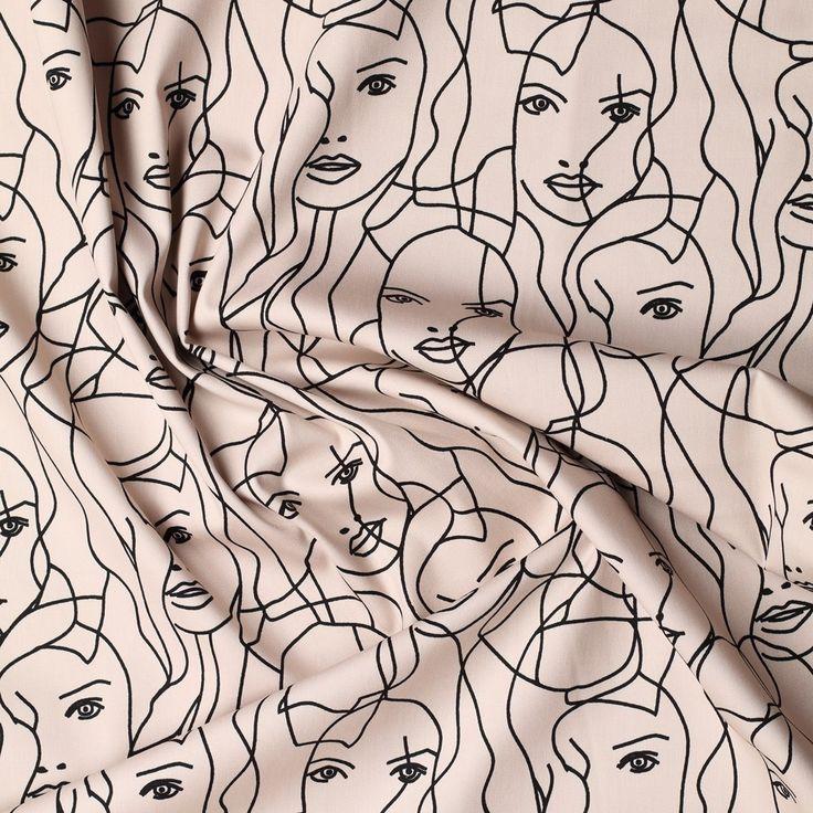 beige pastel stretch satijn katoen met zwart grafisch dessin milliblus