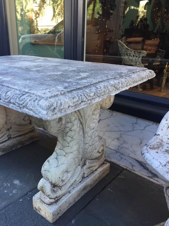 19th Century Cast Stone Italian Garden Table With Dolphin Bases For Sale At 1stdibs In 2020 | Wooden Garden Table, Diy Garden Decor Projects, Garden Decor Projects