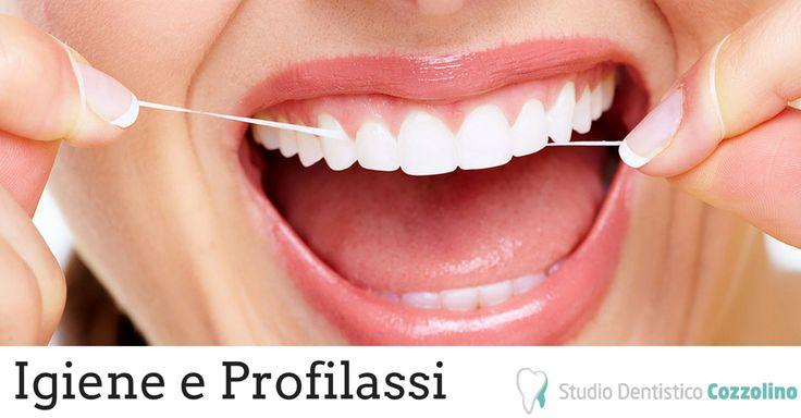 IGIENE E PROFILASSI: http://www.studiodentisticocozzolino.it/igiene-e-profilassi/  L'igiene dentale è quella branca dell'Odontoiatria che si occupa delle manovre professionali e domiciliari volte al ripristino ed al mantenimento dell'igiene e della salute della bocca.  Le manovre di igiene orale si avvalgono di procedure meccaniche (detartrasi, spazzolamento, impiego del filo interdentale) e di presidi chimici (collutori, gel, antisettici topici).