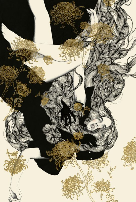 "Inspired by the Charlotte Perkins Gilman book: ""The Yellow Wallpaper"" - by Tran Nguyen - Krab Jab Studios - Seattle"