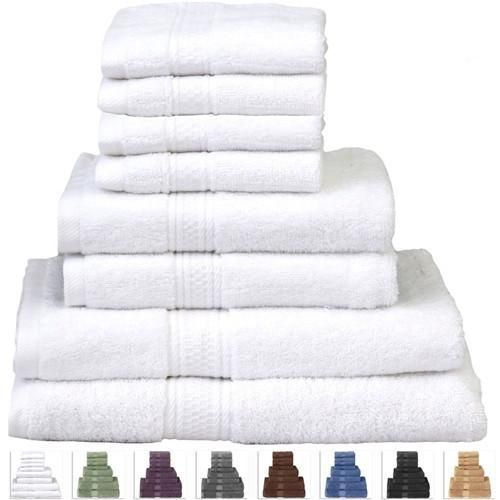 White 8 Pc Towel Set In Soft Luxury 100 Cotton Fast Drying And