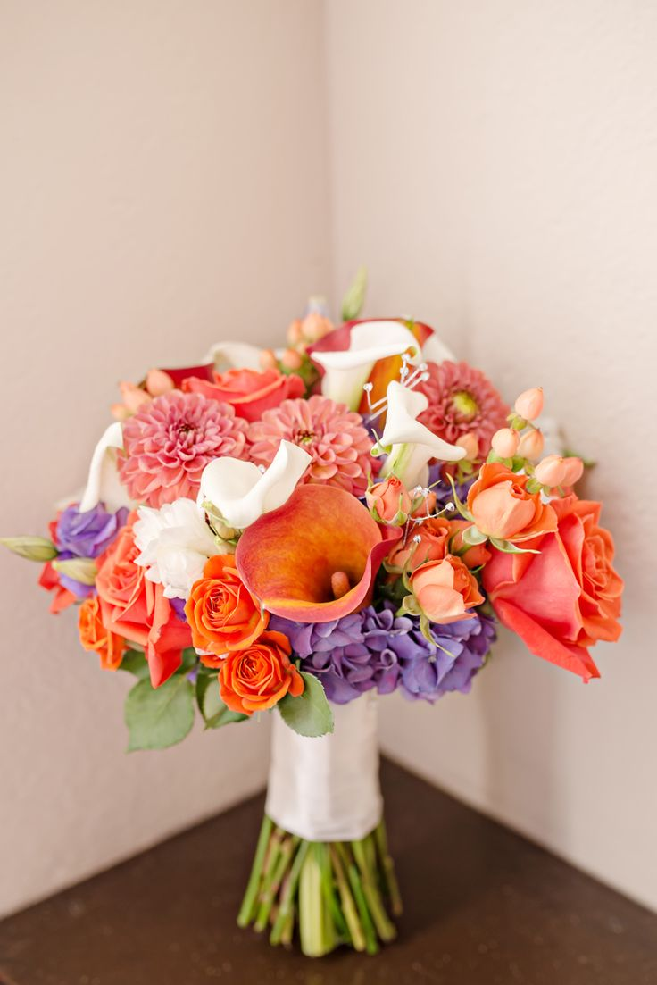 Colorful orange and purple bouquet (Just a Dream Photography)