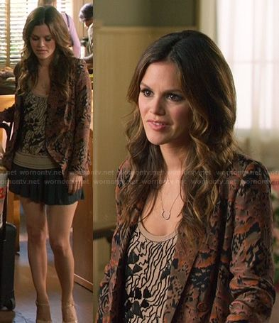 Zoe's beige beaded top, brown printed blazer and horse shoe necklace on Hart of Dixie.  Outfit Details: http://wornontv.net/20043/ #HartofDixie
