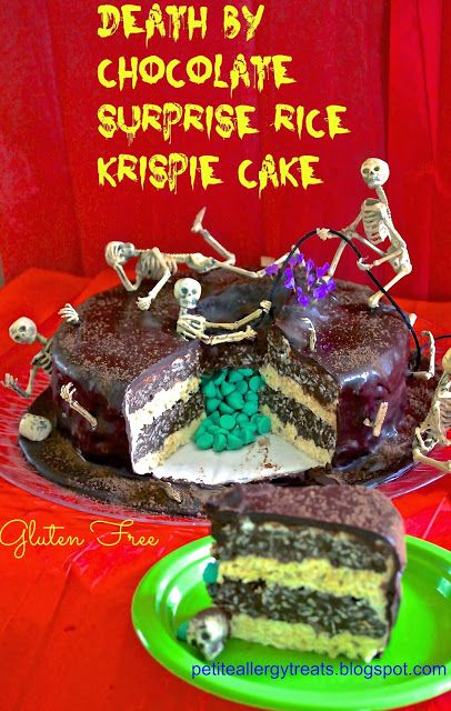 """Gluten free""""Death By Chocolate"""" Skeleton Rice Krispie Surprise cake petiteallergytreats.blogspot.com  Awesome skeletons. Surprise! it's not cake but a giant rice krispie with candy in the middle.  #glutenfree  #halloween surprise cake #death by chocolate #skeletons"""